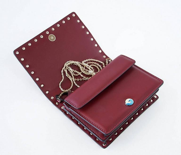 Valentino Garavani Bag Red Mini Rock Stud Clutch Cross Body Wallet on Chain New  In New never worn Condition For Sale In Miami, FL