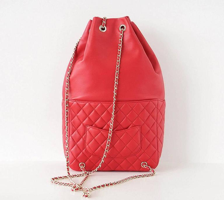 CHANEL Bag Red Classic Lambskin Backpack Rucksack CC Chain Quilted New 2