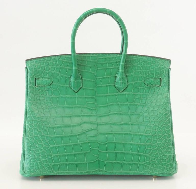 Green Hermes Birkin 35 Matte Alligator Cactus Gold Hardware Bag  For Sale