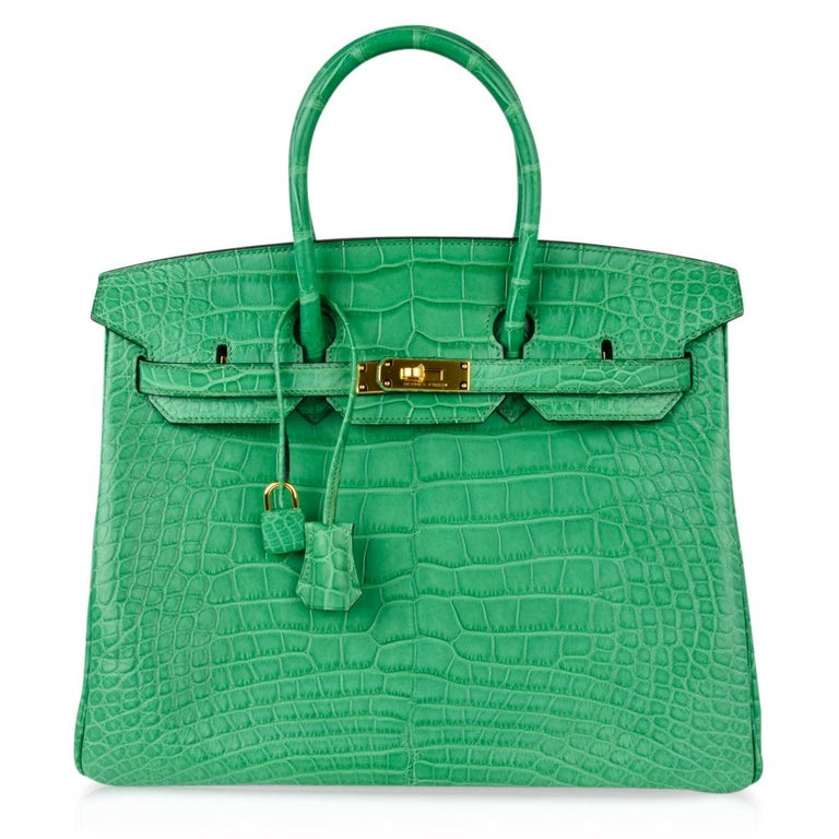 Hermes Birkin 35 Matte Alligator Cactus Gold Hardware Bag  For Sale 2