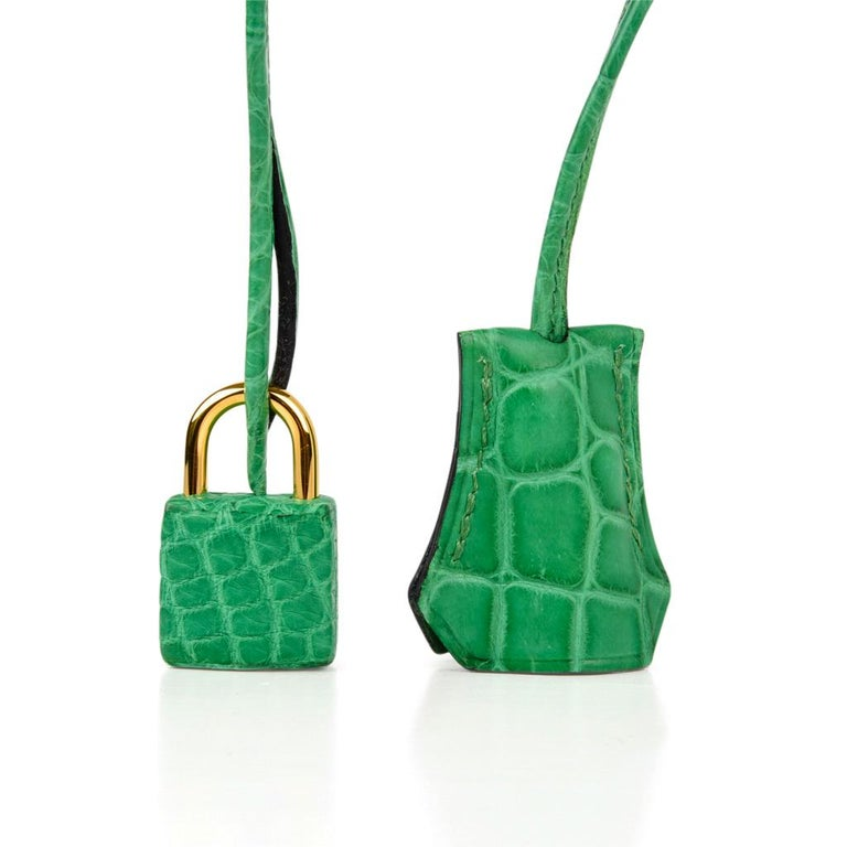 Guaranteed authentic Hermes 35 Birkin bag in fresh rare Cactus  matte Alligator. Exquisite colour to the eye and lush with gold hardware. NEW or NEVER WORN.  Comes with lock, keys, clochette, sleeper, raincoat and signature HERMES box.  final