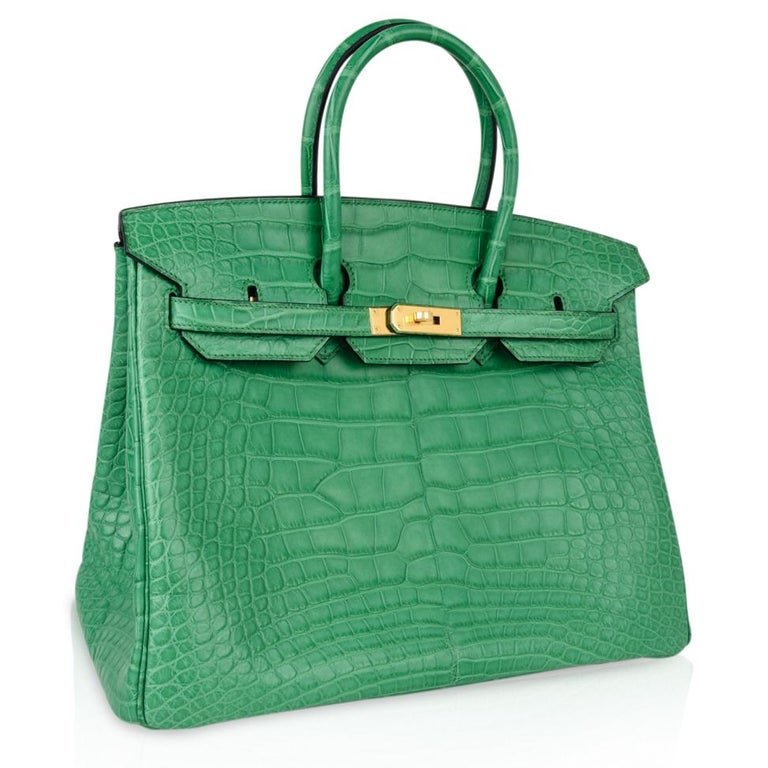 Women's Hermes Birkin 35 Matte Alligator Cactus Gold Hardware Bag  For Sale