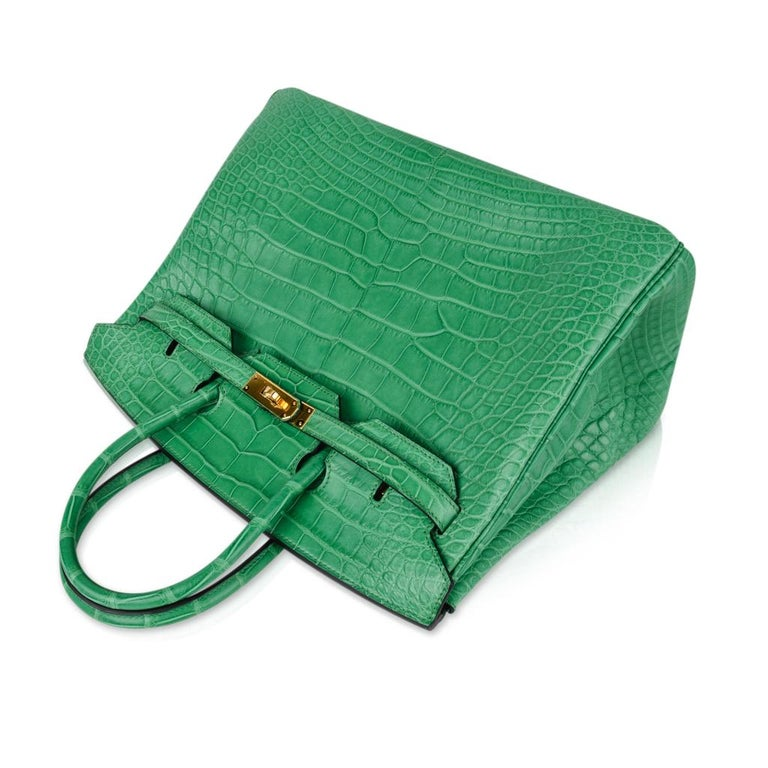 Hermes Birkin 35 Matte Alligator Cactus Gold Hardware Bag  For Sale 1