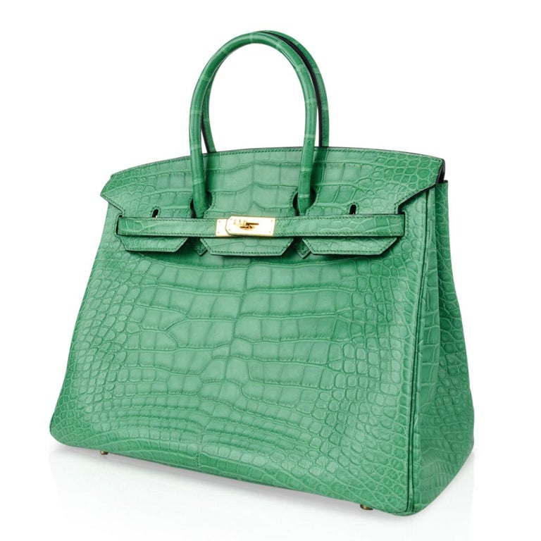 Hermes Birkin 35 Matte Alligator Cactus Gold Hardware Bag  For Sale 3