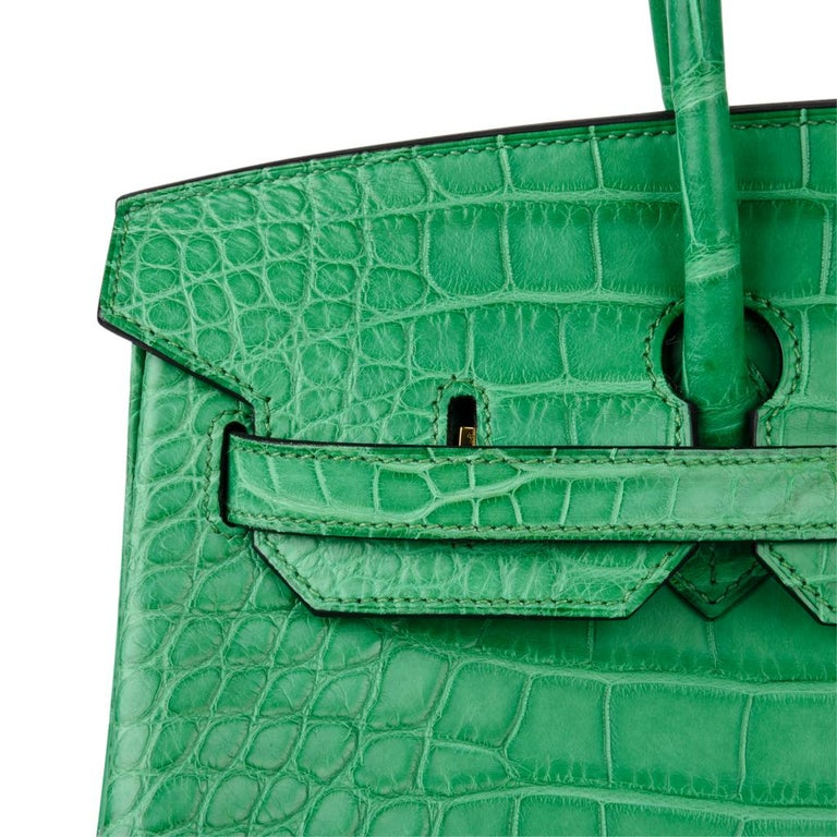 Hermes Birkin 35 Matte Alligator Cactus Gold Hardware Bag  For Sale 4