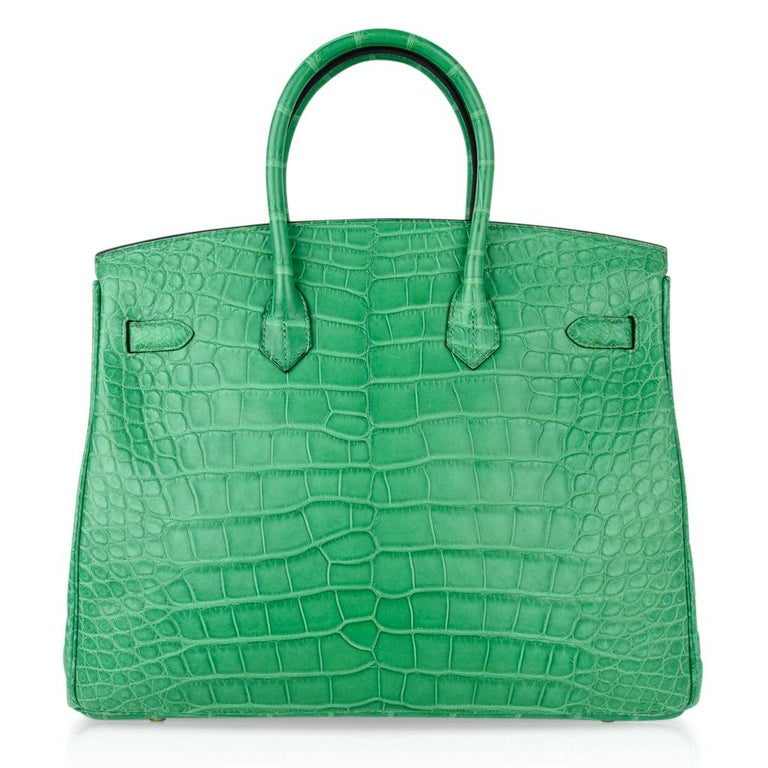 Hermes Birkin 35 Matte Alligator Cactus Gold Hardware Bag  For Sale 5
