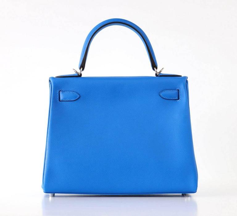 Hermes Kelly 28 Bag Vivid Blue Hydra Palladium Beauty Evercolor Leather 2