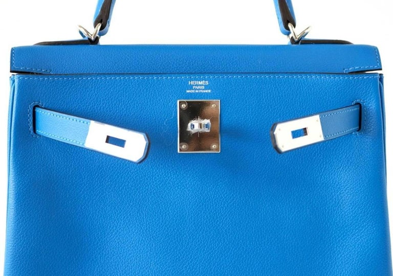 Hermes Kelly 28 Bag Vivid Blue Hydra Palladium Beauty Evercolor Leather 2