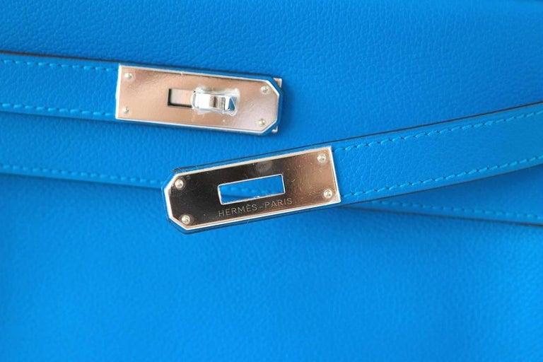 Hermes Kelly 28 Bag Vivid Blue Hydra Palladium Beauty Evercolor Leather 3