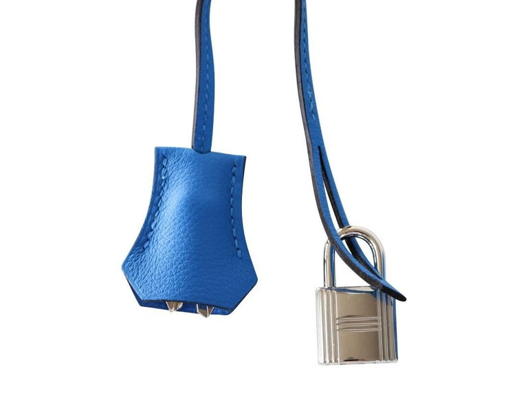 Hermes Kelly Retourne 28 Bag Vivid Blue Hydra Mediterranean Blue Evercolor  For Sale 5
