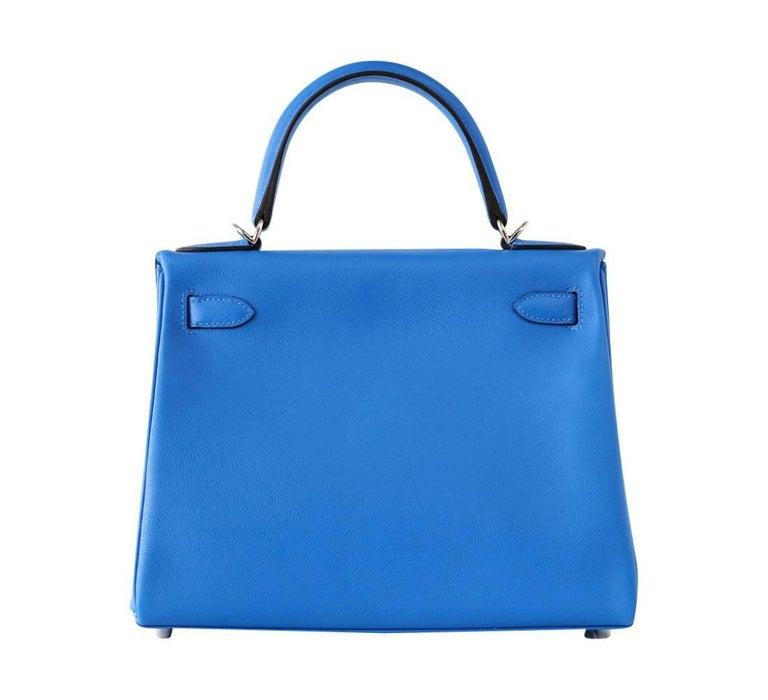 Hermes Kelly 28 Bag Vivid Blue Hydra Palladium Beauty Evercolor Leather 4