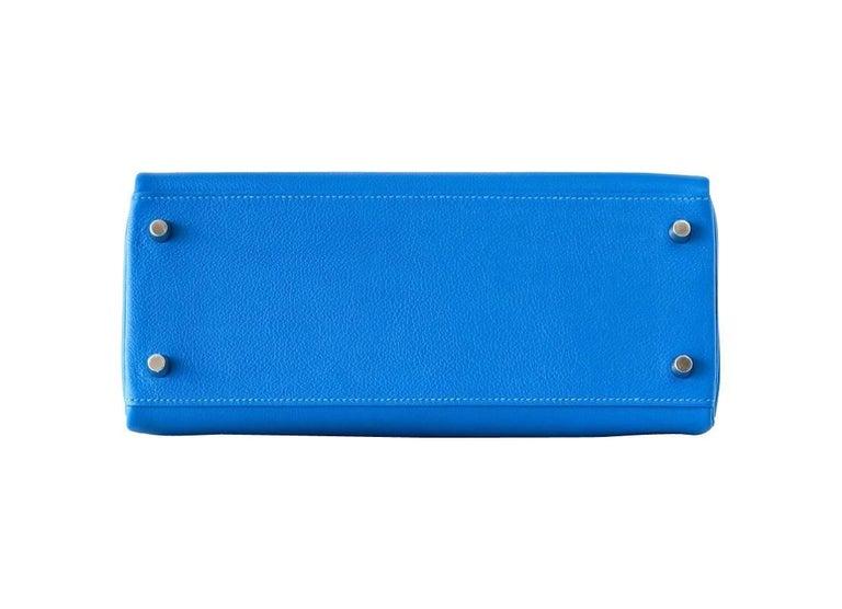 Hermes Kelly 28 Bag Vivid Blue Hydra Palladium Beauty Evercolor Leather 5