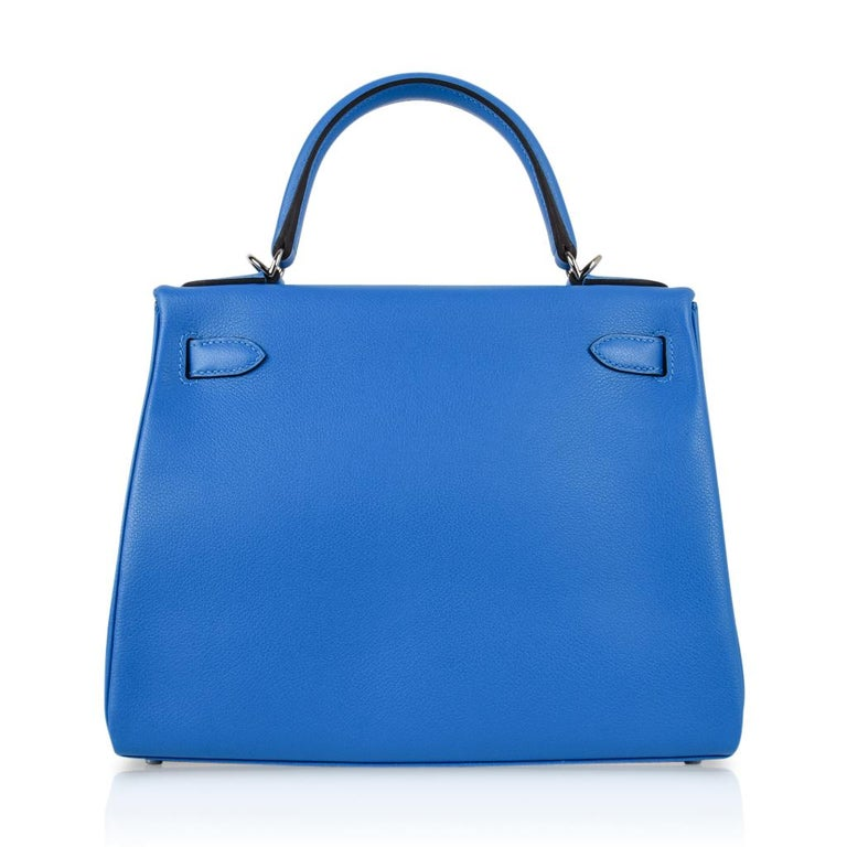 Hermes Kelly Retourne 28 Bag Vivid Blue Hydra Mediterranean Blue Evercolor  For Sale 6