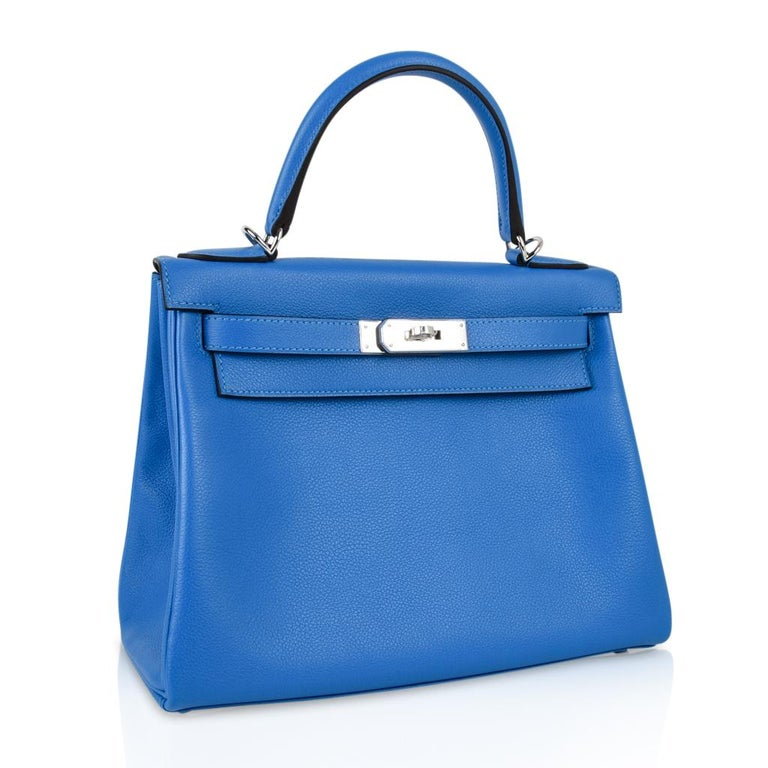 Hermes Kelly Retourne 28 Bag Vivid Blue Hydra Mediterranean Blue Evercolor  For Sale 1