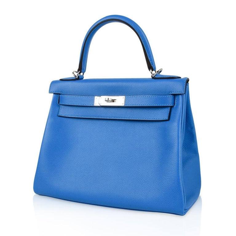 Hermes Kelly Retourne 28 Bag Vivid Blue Hydra Mediterranean Blue Evercolor  For Sale 3
