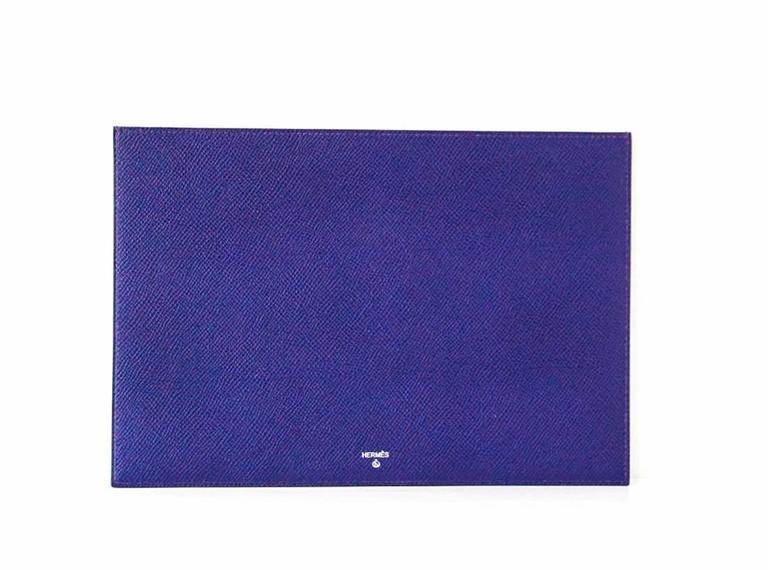 HERMES Pouch Petit h Blue Electric Horse Cutout Scarf Print Interior For Sale 1