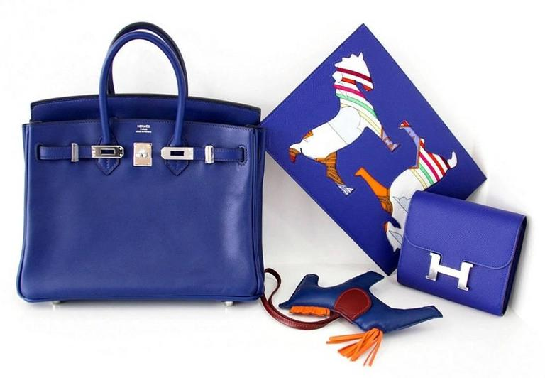HERMES Pouch Petit h Blue Electric Horse Cutout Scarf Print Interior 6