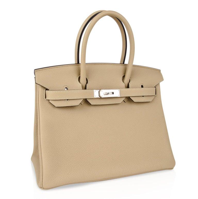 Women's Hermes Birkin 30 Bag Neutral Perfection Trench Palladium Hardware  For Sale