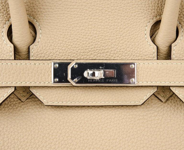 Beige Hermes Birkin 30 Bag Neutral Perfection Trench Palladium Hardware  For Sale