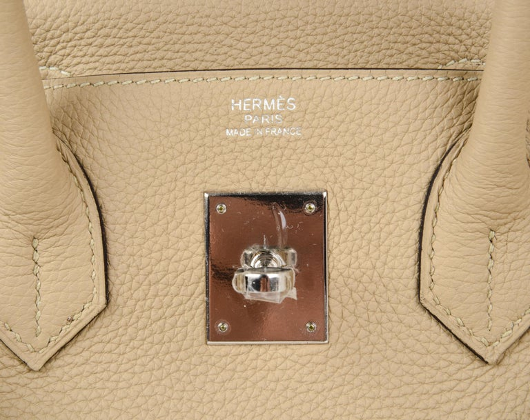 Guaranteed authentic Hermes 30 Birkin Trench is the new neutral perfection from the Hermes world or colour. Soft camel tone carries you year round. Fresh with Palladium Hardware and togo leather. NEW or NEVER WORN.  Comes with the lock and keys in