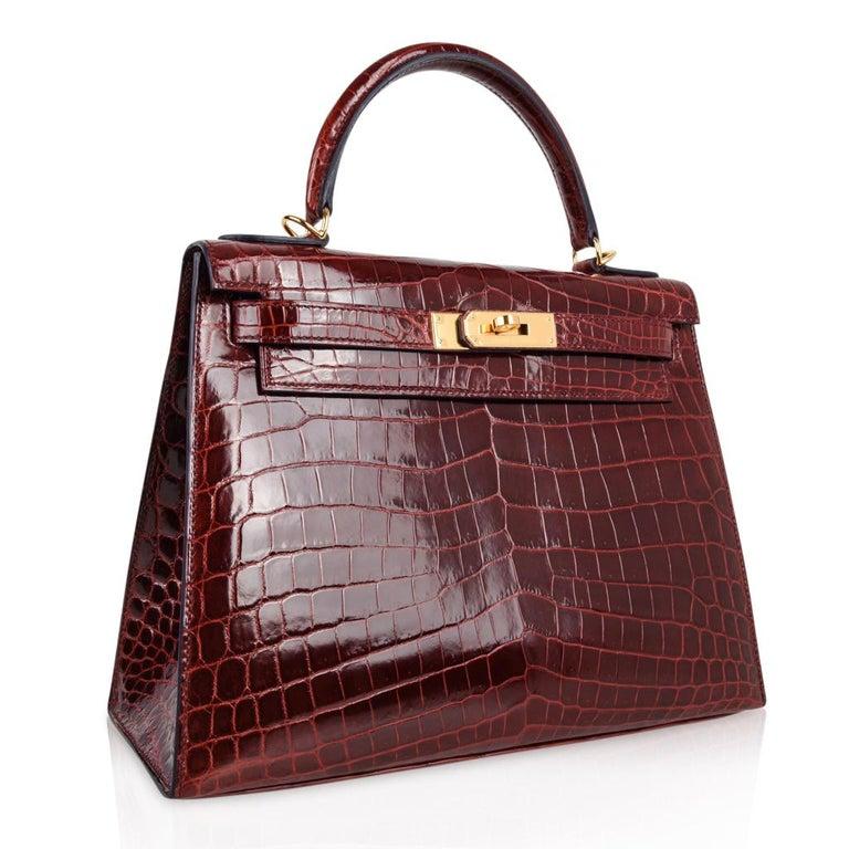 Hermes Kelly 28 Ier Bag Bourgogne Red Crocodile Contour Limited Edition For 3