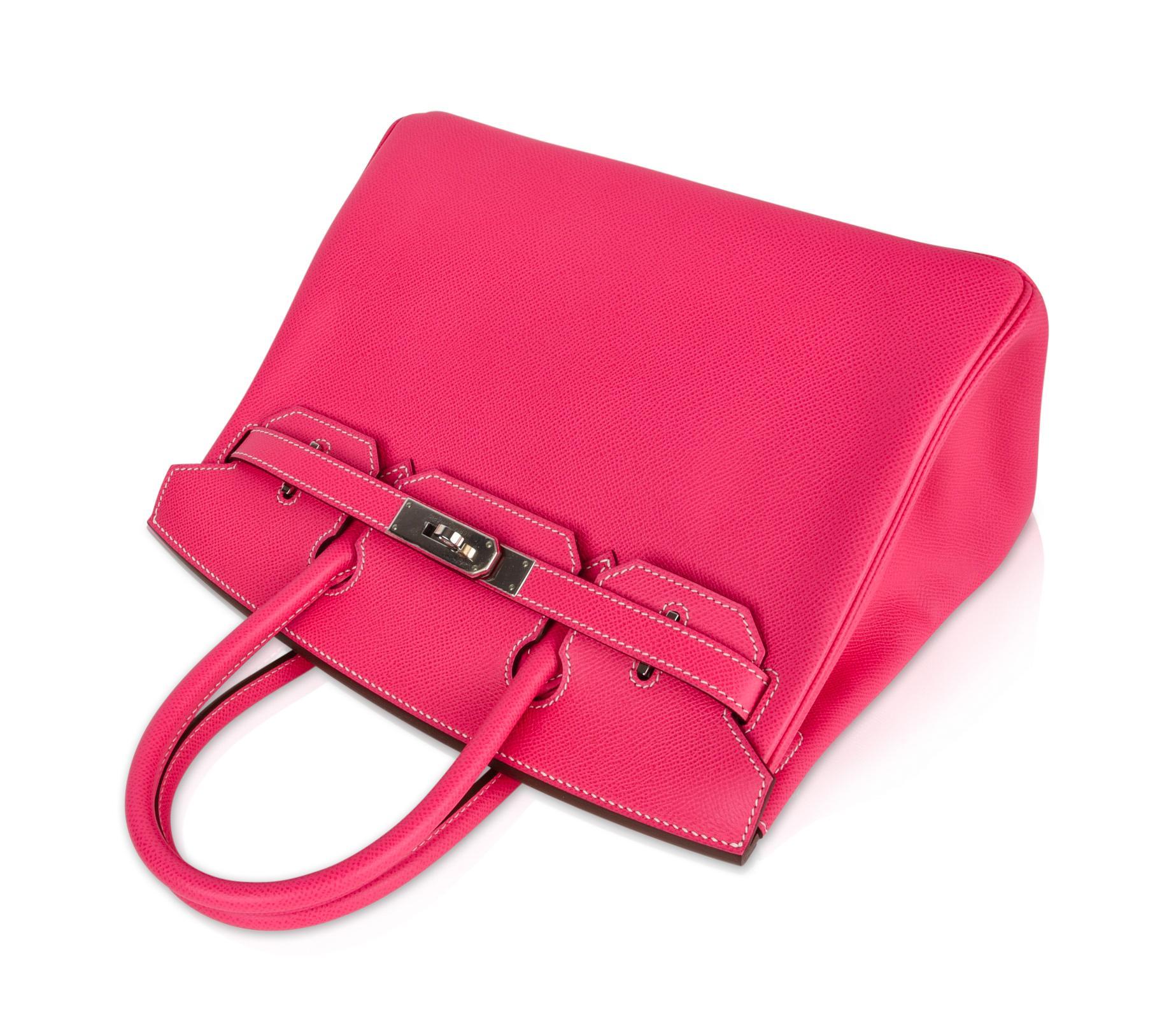 c76b4c2f9ec Hermes Birkin 30 Bag Limited Edition Rose Tyrien Candy Epsom Palladium For  Sale at 1stdibs