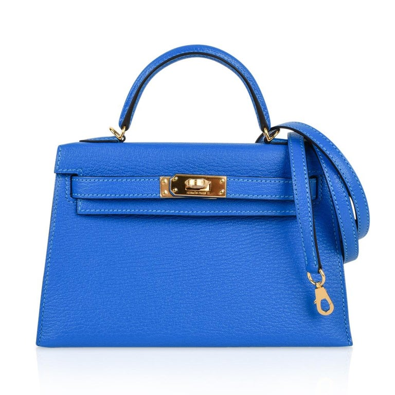 Hermes Kelly Bag 20 Mini Ii Blue Hydra Chevre Gold Hardware In New Condition For