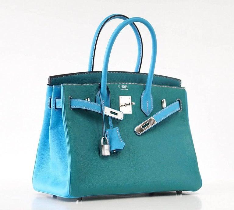 Hermes Birkin 30 Bag Blue Aztec and Paon HSS Chevre Palladium  2