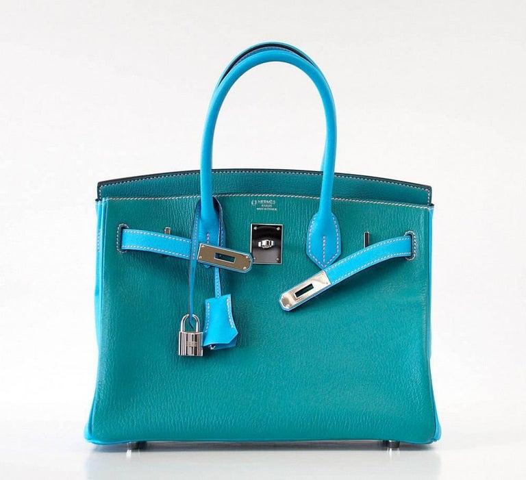 Hermes Birkin 30 Bag Blue Aztec and Paon HSS Chevre Palladium  3