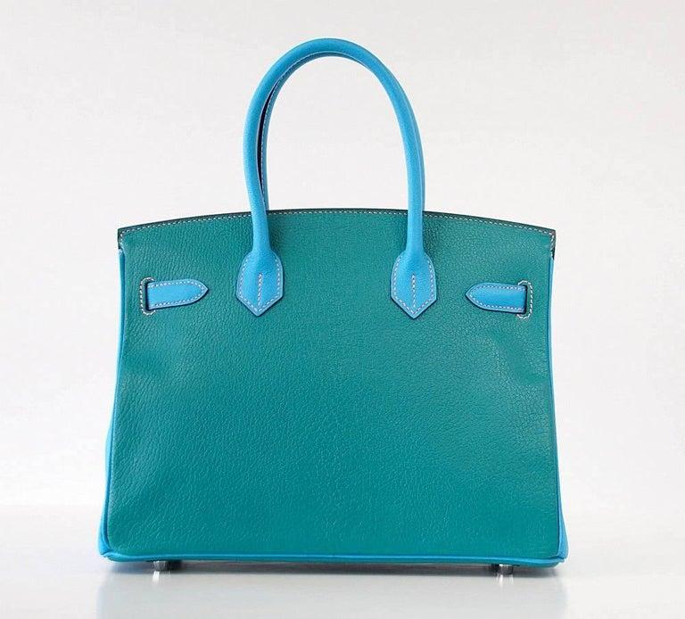 Hermes Birkin 30 Bag Blue Aztec and Paon HSS Chevre Palladium  4