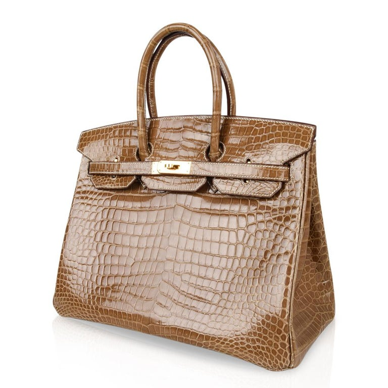 6cf609f986 Women s Hermes Ficelle Porosus Crocodile Gold Hardware Birkin 35 Bag For  Sale
