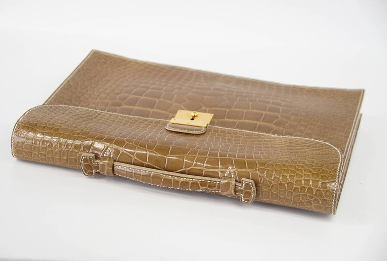 Hermes Quirus Briefcase / Portfolio / Attache Ficelle Alligator Gold Hardware 2