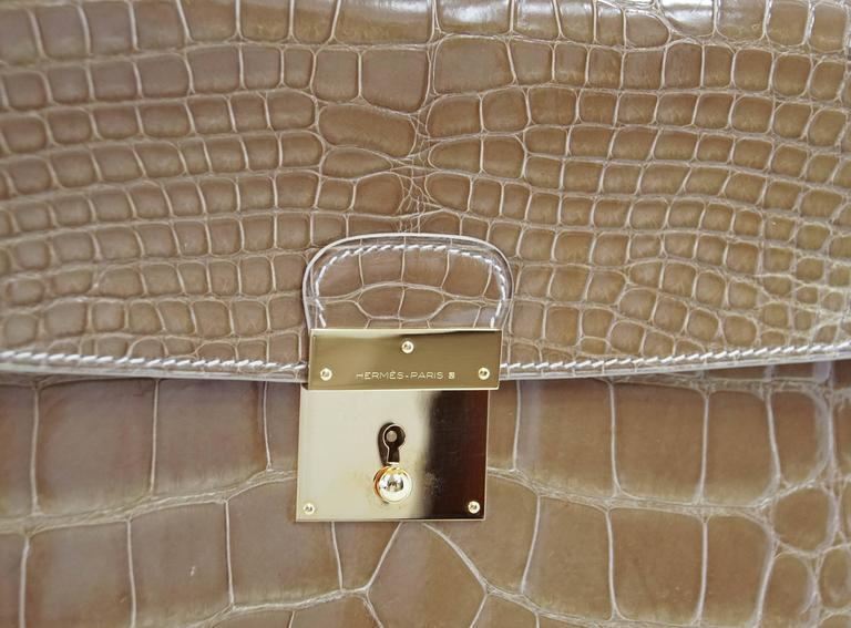 Hermes Quirus Briefcase / Portfolio / Attache Ficelle Alligator Gold Hardware 3