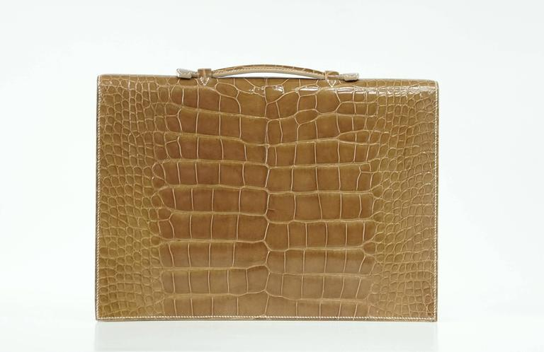 Hermes Quirus Briefcase / Portfolio / Attache Ficelle Alligator Gold Hardware 4