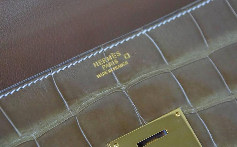 Hermes Quirus Briefcase / Portfolio / Attache Ficelle Alligator Gold Hardware 6