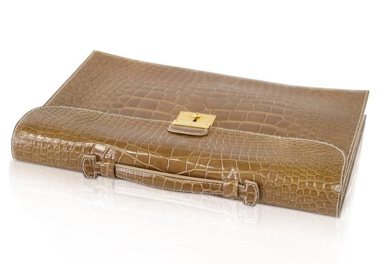 Brown Hermes Quirus Briefcase / Portfolio / Attache Ficelle Alligator Gold Hardware For Sale