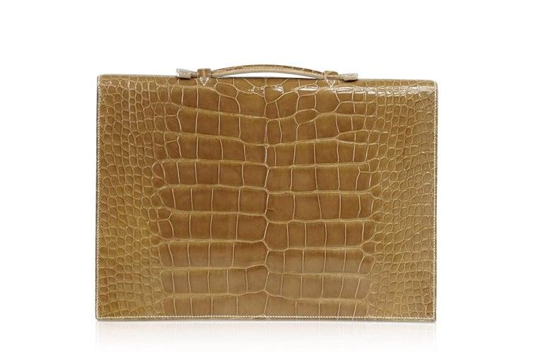 Hermes Quirus Briefcase / Portfolio / Attache Ficelle Alligator Gold Hardware For Sale 1