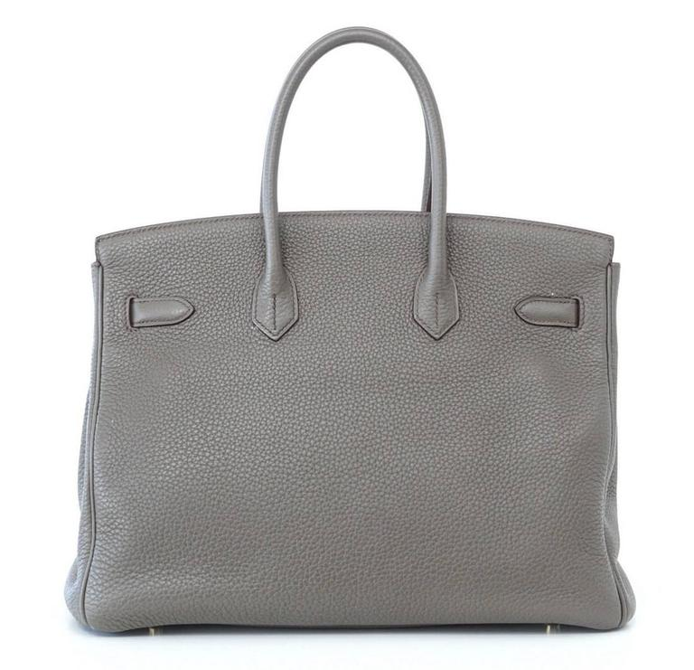 HERMES BIRKIN 35 Bag Limited Edition Club Etain Gray Permabrass rare 6