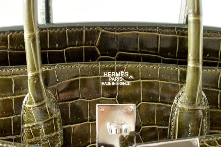 Hermes Birkin 35 Bag Vert Veronese Porosus Crocodile Palladium Army Green 3