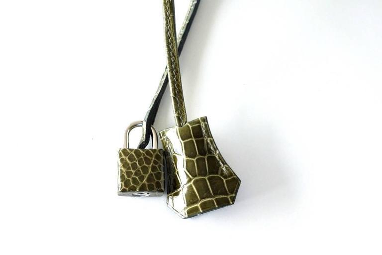 Hermes Birkin 35 Bag Vert Veronese Porosus Crocodile Palladium Army Green 4