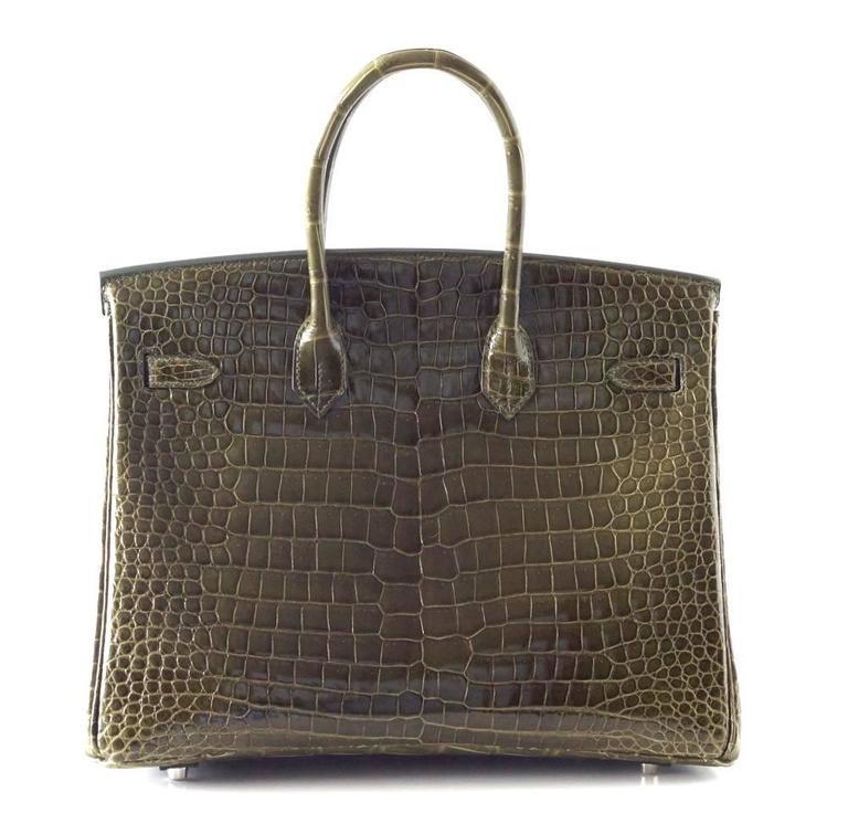 Hermes Birkin 35 Bag Vert Veronese Porosus Crocodile Palladium Army Green 6