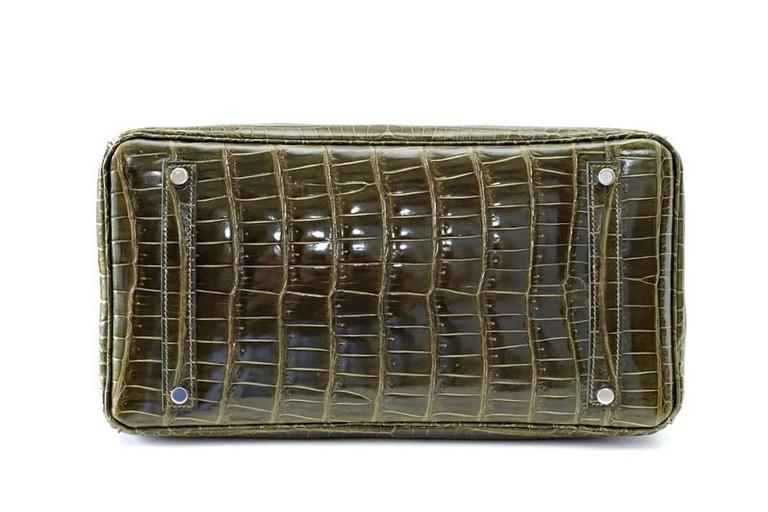 Hermes Birkin 35 Bag Vert Veronese Porosus Crocodile Palladium Army Green 7