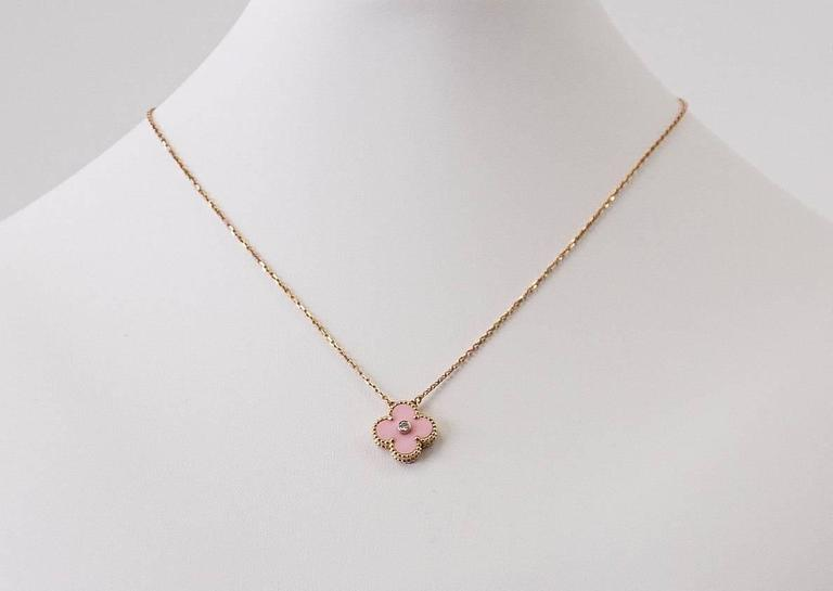 Van Cleef & Arpels Necklace 2015 Holiday Pink Alhambra Diamond Ltd Ed Rose Gold In As new Condition For Sale In Miami, FL