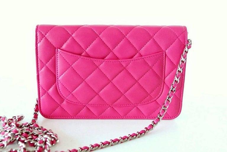 Chanel Bag / Wallet On A Chain Pink Lambskin Cross Body New 2