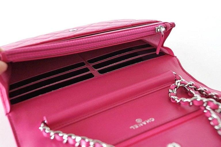 Chanel Bag / Wallet On A Chain Pink Lambskin Cross Body New 3