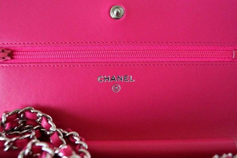Chanel Bag / Wallet On A Chain Pink Lambskin Cross Body New 4