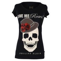 Philipp Plein Couture Top Black Skull and Diamante Tee M