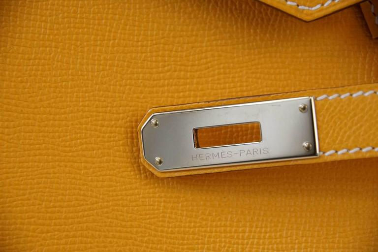 Hermes Birkin 35 Bag Jaune D'Or Yellow Candy Limited Edition Epsom Permabrass 3