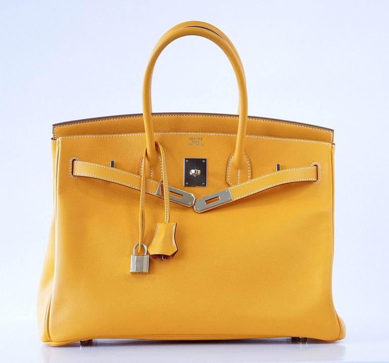 Hermes Birkin 35 Bag Jaune D'Or Yellow Candy Limited Edition Epsom Permabrass 4