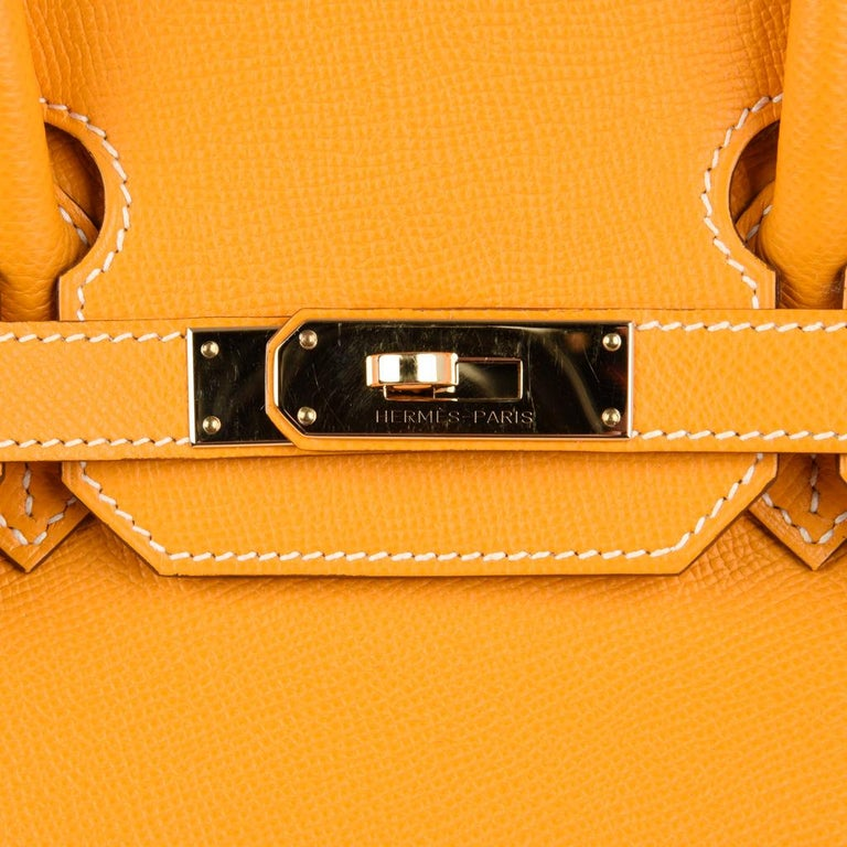 2340eb40322 Hermes Jaune D Or Yellow Candy Limited Edition Epsom Permabrass Birkin 35  Bag In Good